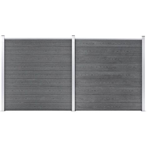 vidaXL Valla de jardín de WPC gris 353x186 cm - Gris