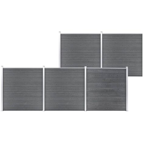 vidaXL Valla de jardín de WPC gris 872x186 cm - Gris