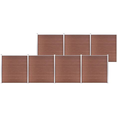 vidaXL Valla de jardín de WPC marrón 1218x186 cm - Marrón