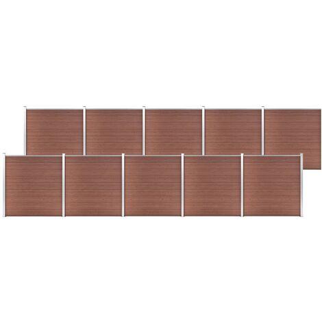 vidaXL Valla de jardín de WPC marrón 1737x186 cm - Marrón
