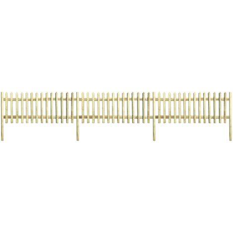 vidaXL Valla de madera con postes de pino impregnado 5,1m 170cm 5/7cm