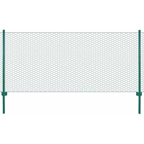 vidaXL Valla de malla de alambre con postes de acero 25x0,75 m verde - Verde