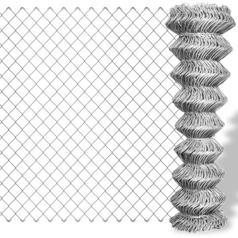 vidaXL Valla de tela metálica acero galvanizado plateado 25x1,5 m - Plateado