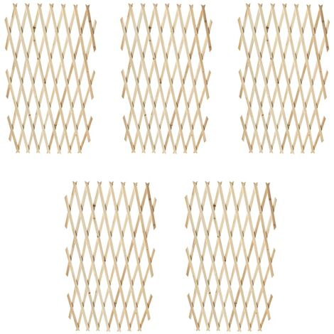 vidaXL Valla enrejada 5 piezas madera maciza 180x90 cm - Beige