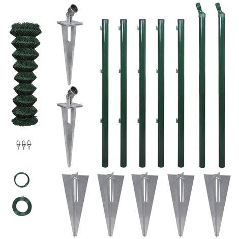 vidaXL Valla metálica con estacas postes acero 1,25x15 m - Verde