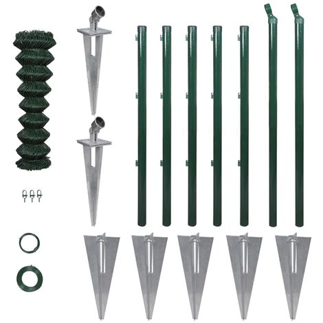 vidaXL Valla metálica con estacas postes acero 1,5x15 m - Verde