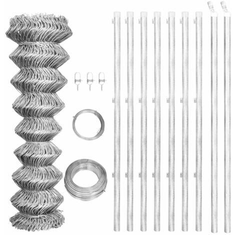 vidaXL Valla tela metálica y postes acero galvanizado plata 15x1,25 m - Plateado