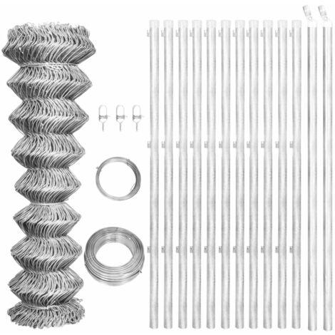 vidaXL Valla tela metálica y postes acero galvanizado plata 25x0,8 m - Plateado