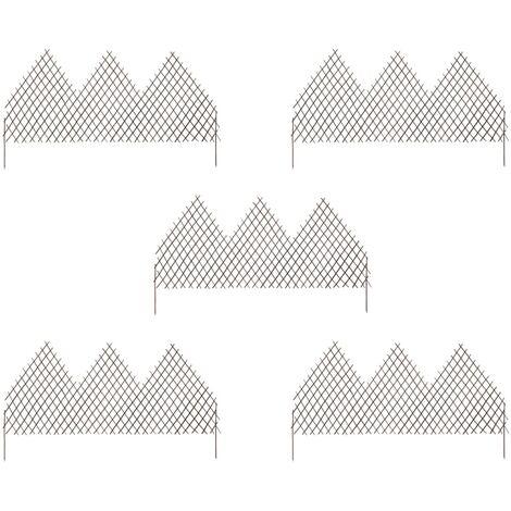 vidaXL Vallas de enrejado de jardín 5 unidades sauce 170x105 cm - Marrón