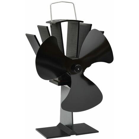 vidaXL Ventilador de estufa accionado por calor 3 aspas negro - Negro