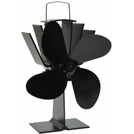 vidaXL Ventilador de estufa accionado por calor 4 aspas negro - Negro