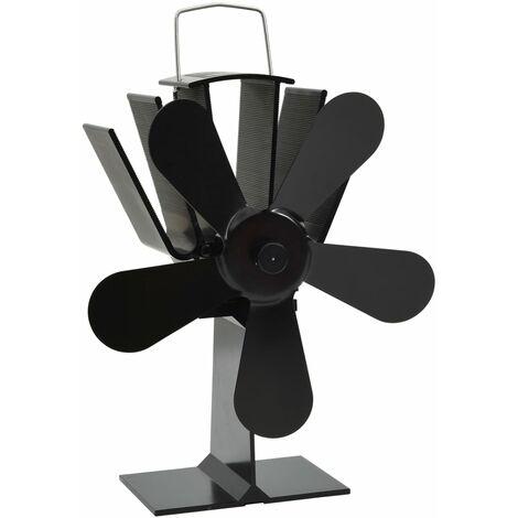 vidaXL Ventilador de estufa accionado por calor 5 aspas negro - Nero