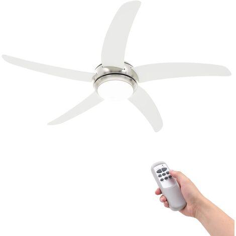 vidaXL Ventilador de Techo Adornado Moderno con Lámpara 128 cm Blanco/Marrón