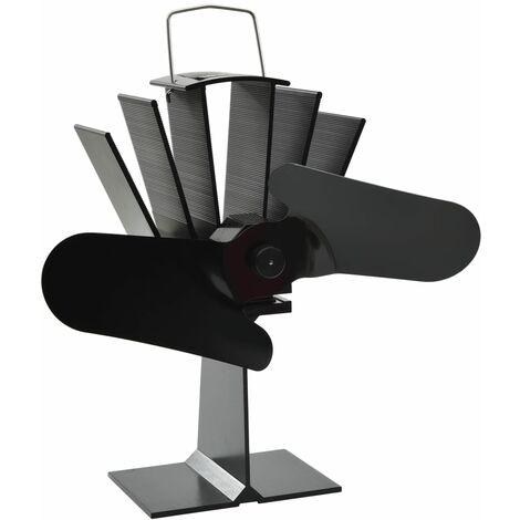 vidaXL Ventilateur de Poêle Alimenté par Chaleur avec Pales Ventilateur de Poêle à Bois avec des Fils Ignifuges Cheminée Economique Maison Noir