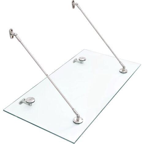 vidaXL VSG Safety Glass Canopy Front Door 120x60 cm Stainless Steel - Transparent