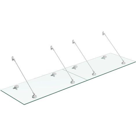 vidaXL VSG Safety Glass Canopy Front Door 240x60 cm Stainless Steel - Transparent