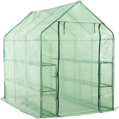 "main image of ""vidaXL Walk-in Greenhouse with 12 Shelves Steel 143x214x196 cm - Green"""