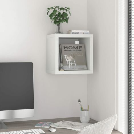 vidaXL Wall Cube Shelf White 37x29.5x37 cm MDF - White