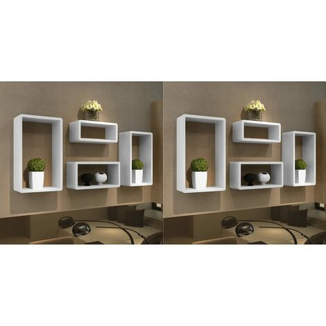 vidaXL Wall Cube Shelves 8 pcs White - White