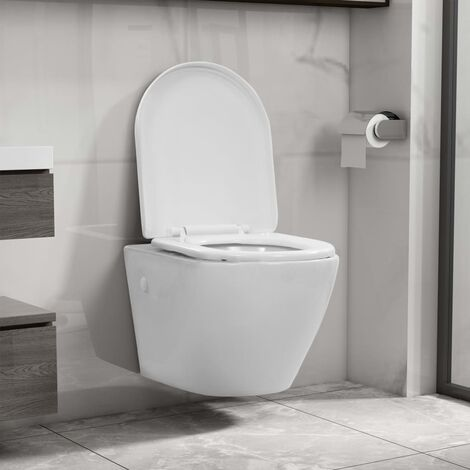 vidaXL Wall Hung Rimless Toilet Ceramic White - White
