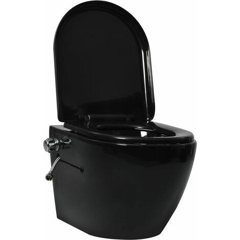 vidaXL Wall Hung Rimless Toilet with Bidet Function Ceramic Black - Black