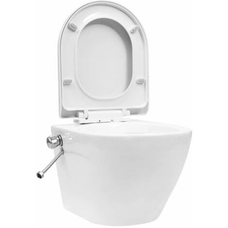 vidaXL Wall Hung Rimless Toilet with Bidet Function Ceramic White - White