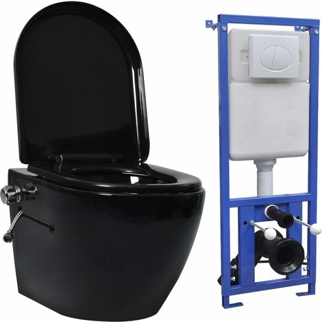 vidaXL Wall Hung Rimless Toilet with Concealed Cistern Ceramic Black - Black
