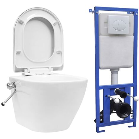 vidaXL Wall Hung Rimless Toilet with Concealed Cistern Ceramic White - White