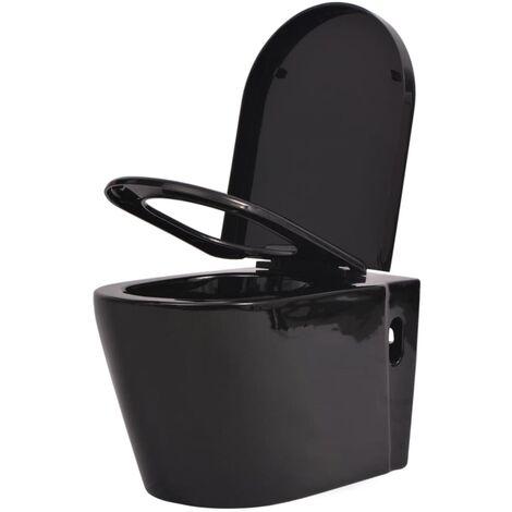 vidaXL Wall Hung Toilet Ceramic Black - Black