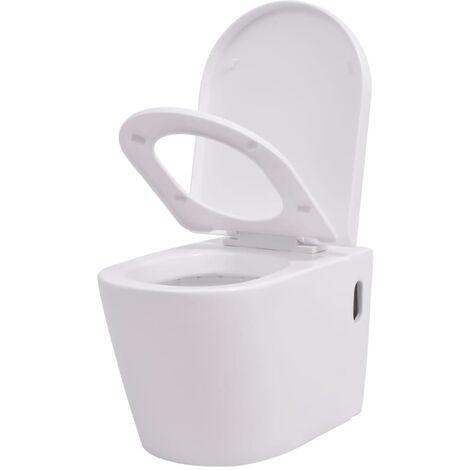 vidaXL Wall Hung Toilet Ceramic White - White
