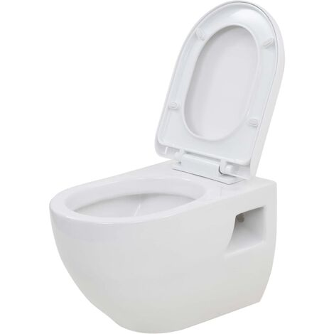vidaXL Wall-Hung Toilet Wall-Mounted Toilet Home Bathroom Furniture Wall Toilet Ceramic Toilet Ceramic White/Black