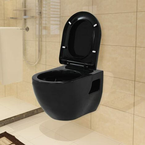 vidaXL Wall-Hung Toilet Wall-Mounted Toilet Home Bathroom Furniture Wall Toilet Ceramic Toilet Ceramic White/Black
