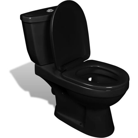 vidaXL Wall Hung Toilet With Cistern Bathroom Soft Close Seat White/Black