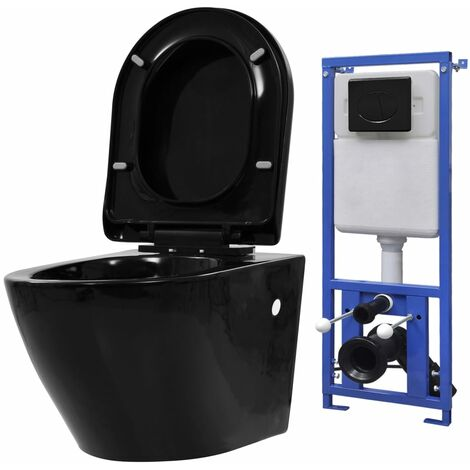 vidaXL Wall Hung Toilet with Concealed Cistern Ceramic Black - Black