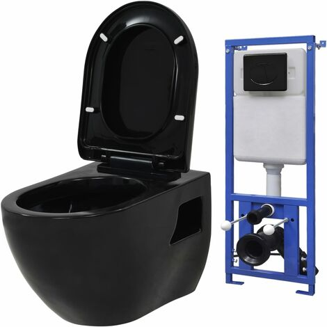 vidaXL Wall-Hung Toilet with Concealed Cistern Ceramic Black - Black