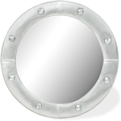 vidaXL Wall Mirror Artificial Leather Vanity Glossy White/Silver Multi Sizes