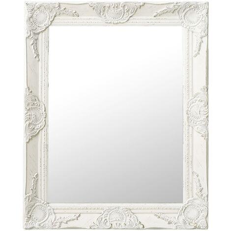 "main image of ""vidaXL Wall Mirror Baroque Style 50x60 cm White - White"""
