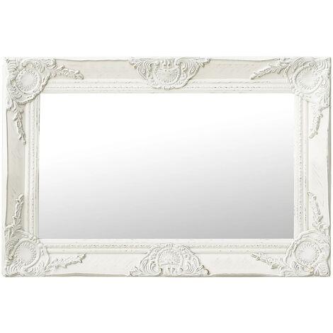 "main image of ""vidaXL Wall Mirror Baroque Style 60x40 cm White - White"""