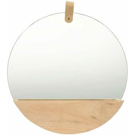 "main image of ""vidaXL Wall Mirror Solid Pinewood 35 cm - Brown"""