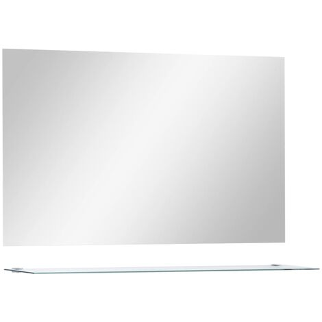 """main image of """"vidaXL Wall Mirror with Shelf 100x60 cm Tempered Glass - Silver"""""""