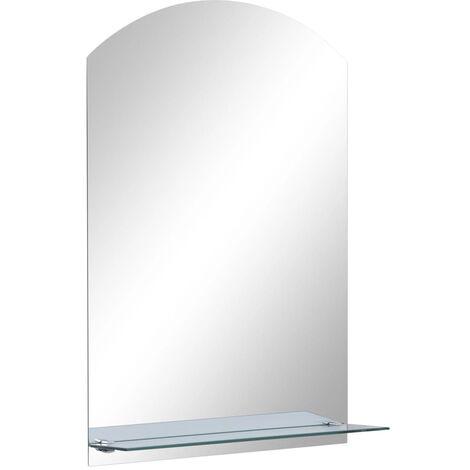 vidaXL Wall Mirror with Shelf 40x60 cm Tempered Glass - Silver