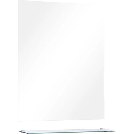 vidaXL Wall Mirror with Shelf 50x60 cm Tempered Glass - Silver