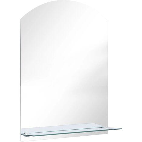 vidaXL Wall Mirror with Shelf 50x70 cm Tempered Glass - Silver