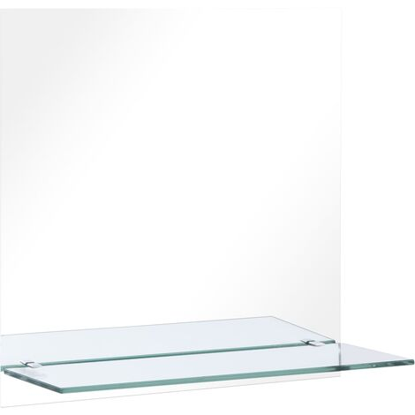 """main image of """"vidaXL Wall Mirror with Shelf 60x60 cm Tempered Glass - Silver"""""""
