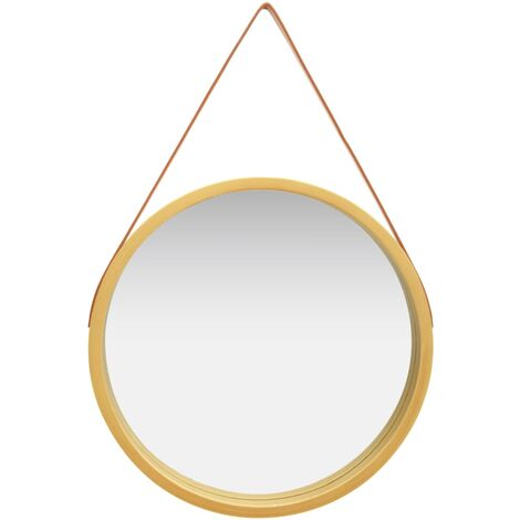 """main image of """"vidaXL Wall Mirror with Strap 60 cm Gold - Gold"""""""