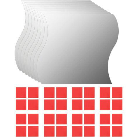 "main image of ""vidaXL Wall Mirrors 8 pcs 20x20 cm Wave Glass - Silver"""