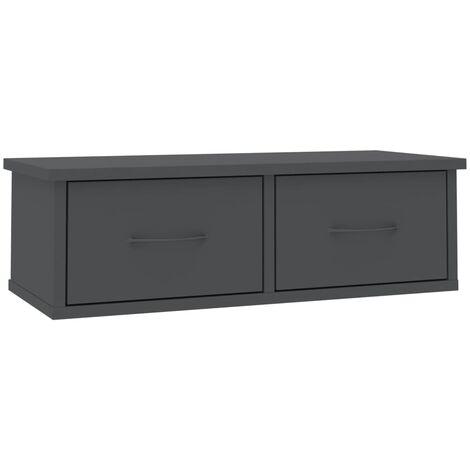 vidaXL Wall-mounted Drawer Shelf 2 Drawers Elegant Display Floating Shelf Cabinet Storage Living Room Furniture Home Chipboard Multi Colours