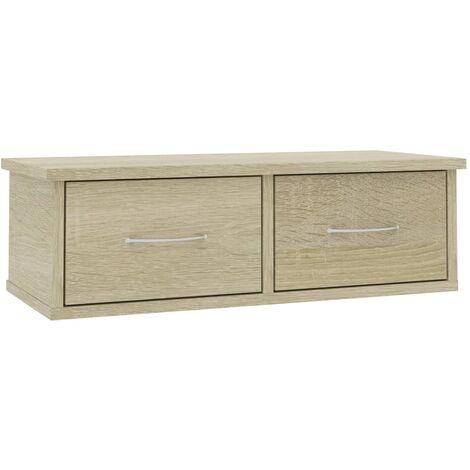 "main image of ""vidaXL Wall-mounted Drawer Shelf 2 Drawers Elegant Display Floating Shelf Cabinet Storage Living Room Furniture Home Chipboard Multi Colours"""