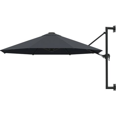 vidaXL Wall-Mounted Parasol with Metal Pole 300 cm Anthracite - Anthracite