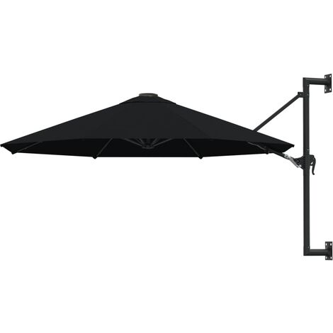 vidaXL Wall-Mounted Parasol with Metal Pole 300 cm Black - Black